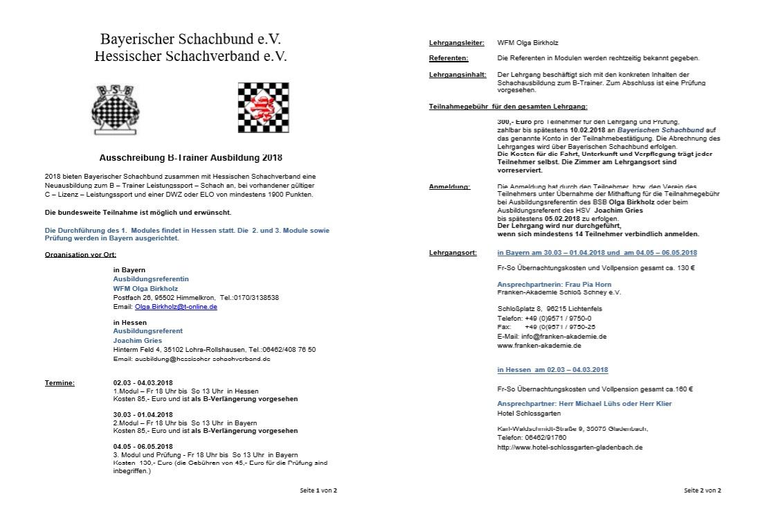 B-Trainerlehrgang und -fortbildung in Hessen / Bayern 2018