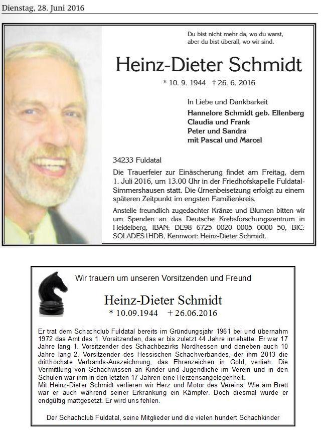 Trauerfall Heinz-Dieter Schmidt