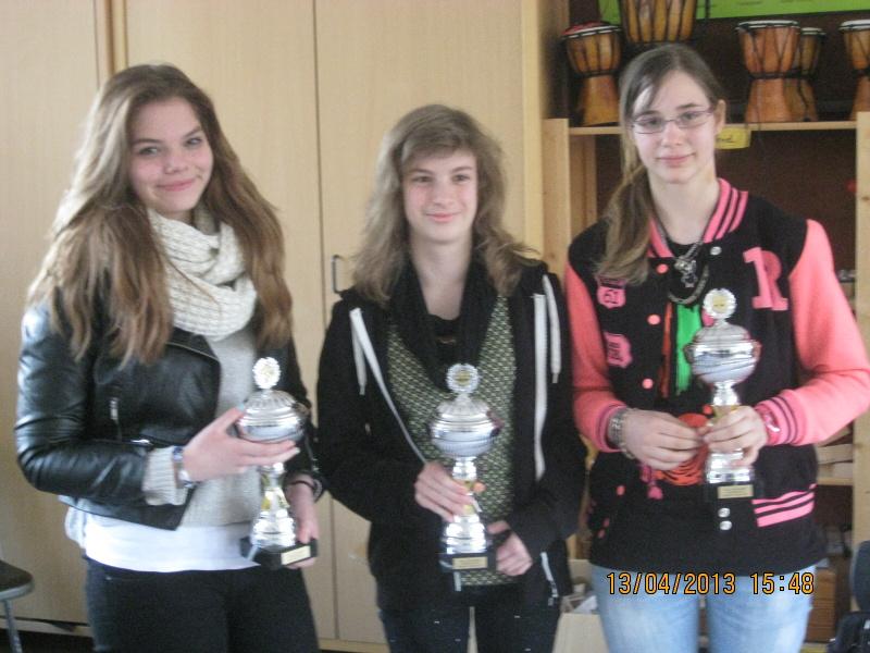 Die Siegerinnen der Hessischen Frauenschnellschacheinzelmeisterschaft 2013: Sonja Maria Bluhm (A), Jessica Schäfer (C), Vanessa Krauße (B)